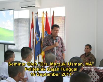 Seminar oleh Drs. Marzuki Usman, M.A. tanggal 19 September 2011